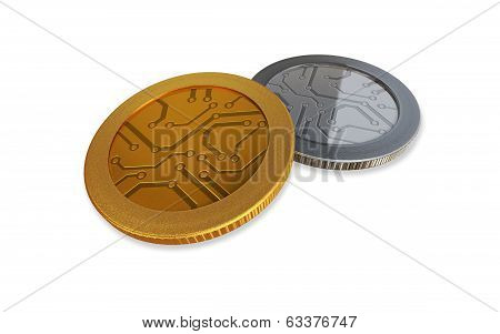 White Digital Gold And Silver Coins
