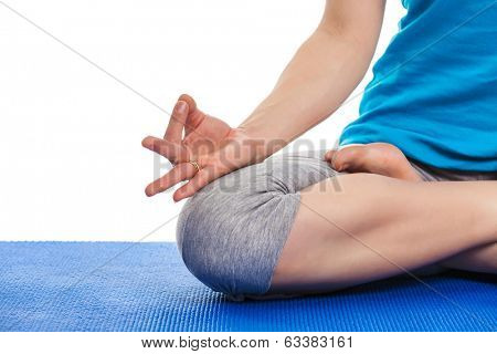 Close up of yoga Padmasana (Lotus pose) cross legged position for meditation with Chin Mudra - psychic gesture of consciousness poster
