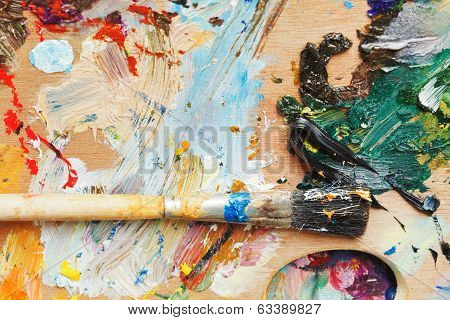 Paint Brush On Wooden Artistic Pallette