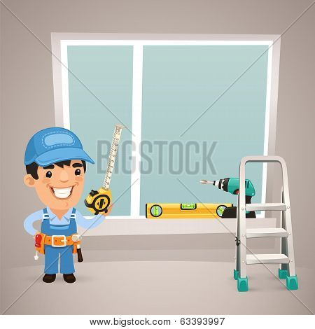 Worker Is Installing The Window