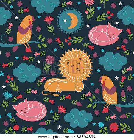 lullaby pattern, sleepy cute animals
