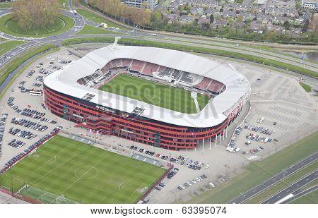 Alkmaar, Netherlands - April 15: Exterior View Of The Az Afas Stadion From Above On April 15, 2014 I