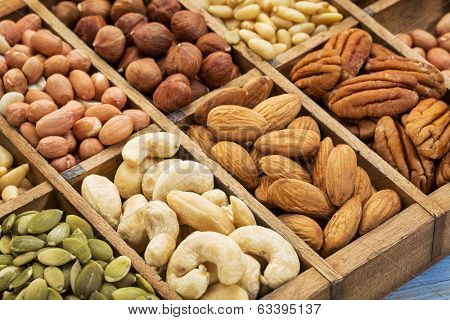 nuts and seed collection (cashew, pecan, hazelnut,pine nuts, peanut, pumpkin) in an old typesetter wooden drawer
