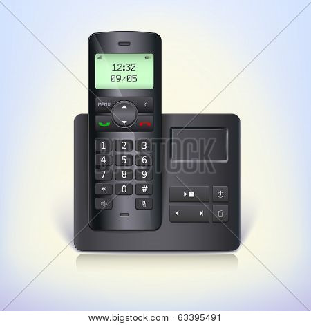 Wireless telephone phone with answering machine and base on a white background.