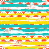 Vector seamless ethnic pattern with bold zigzag brushstrokes and stripes in bright colors can be used for print, wallpaper, summer fall fashion and gift wrapping paper poster