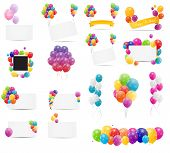 Color Glossy Balloons Card Mega Set Vector Illustration poster