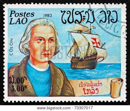 Postage Stamp Laos 1983 Christopher Columbus, Explorer