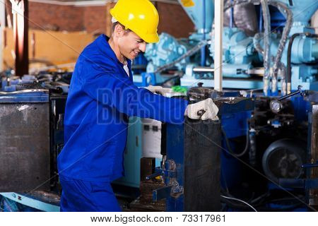 experienced factory worker working in gum boot factory