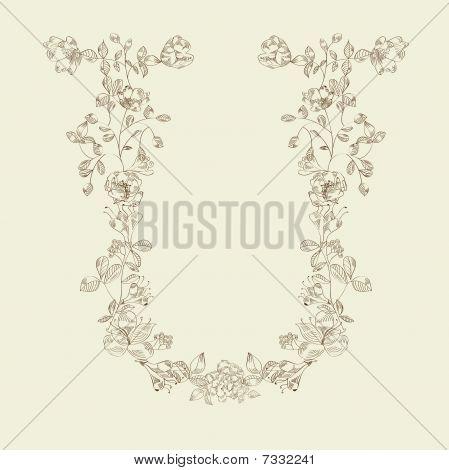 Floral font Letter U