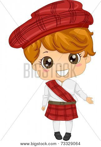 Illustration Featuring a Boy Wearing a Scottish Costume