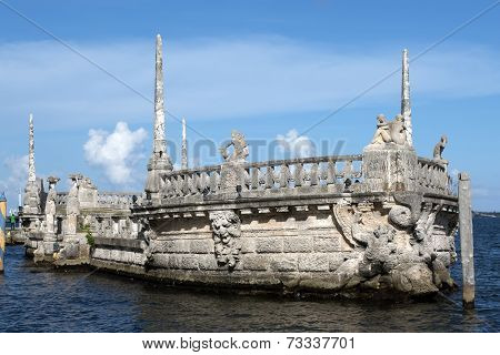 Stone Breakwater Barge At The Vizcaya Museum