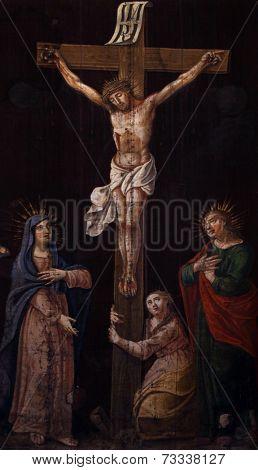 BUDVA, MONTENEGRO - JUNE 09, 2012: Crucifixion, Blessed Virgin Mary and Saint John under the cross, Saint John the Baptist catholic church, on June 09, 2012 in Budva, Montenegro