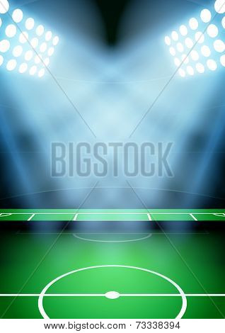 Background for posters night football soccer stadium in the spotlight. Vector