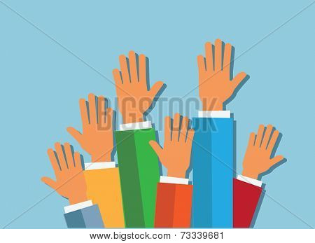 hands up on blue background vector illustration. flat design