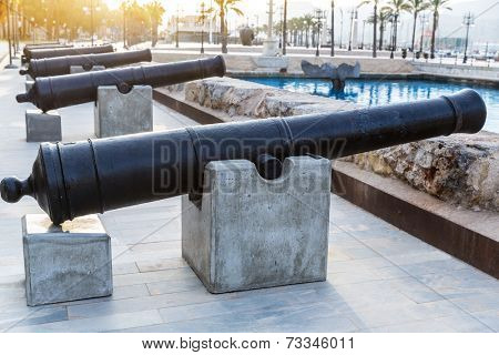 Cartagena cannon in naval museum with port at Murcia Spain poster