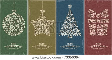 Set of vintage card with Christmas decorations. Vector illustration