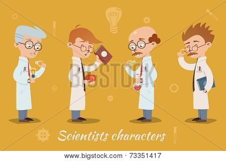 Set of four vector scientist characters