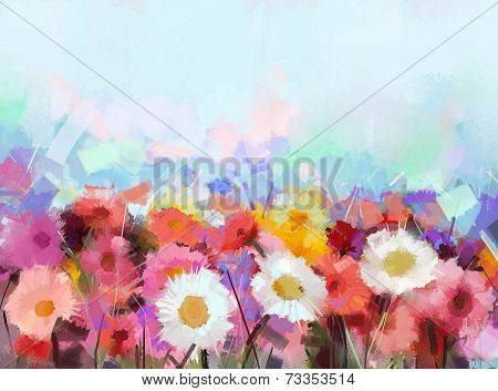 Gerbera Flower.Abstract Flower Oil Painting