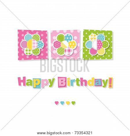 three flowers happy birthday card