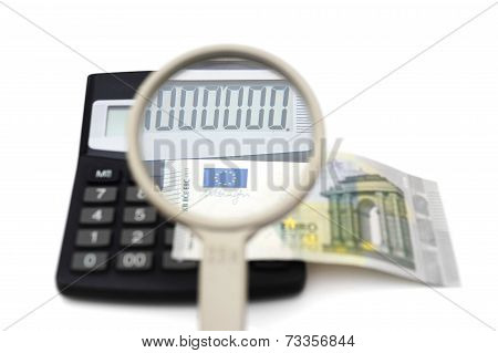 Concept Of Accounting Fraud With Money,calculator,magnifier