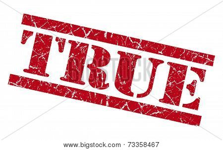 True Red Square Grunge Textured Isolated Stamp