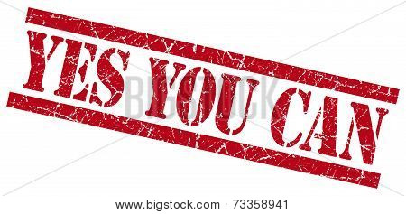 Yes You Can Red Square Grunge Textured Isolated Stamp