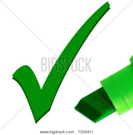Macro Close-up Of Green Pen Checking Ok Tick Mark