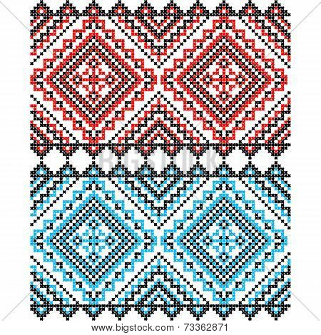 Embroidery. Ukrainian national ornament decoration in red and blue . Vector illustration poster