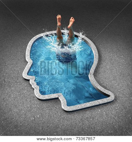 Deep thinking and soul searching concept with a person diving into a swimming pool shaped as a human face as a symbol of self examination and mental health issues related to inner feelings and emotions. poster