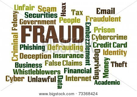 Fraud word cloud on white background poster