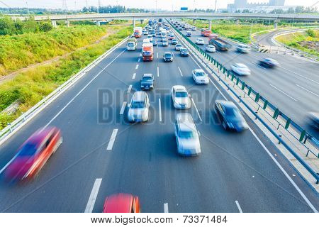 Cars in motion blur on highway,Beijing China