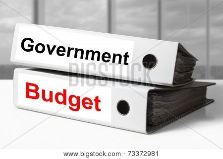 stack of white office binders government budget poster