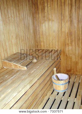 Interior Of A Woodmade Sauna