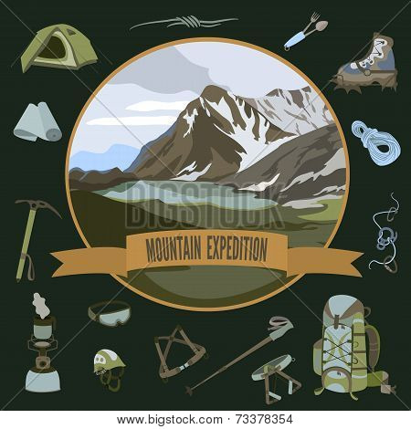 Set of mountaineering icons
