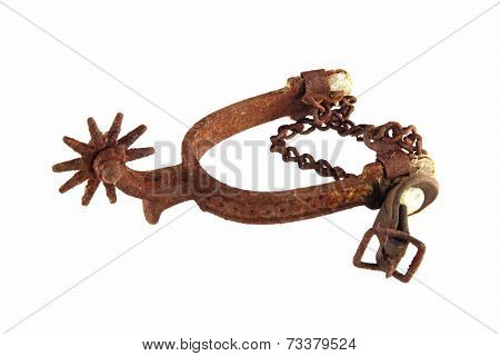 Riding Spur On White Background.