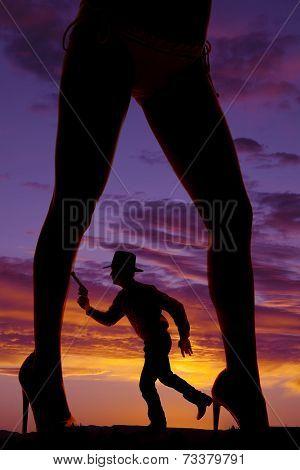 Silhouette Cowboy Run Gun Woman Legs