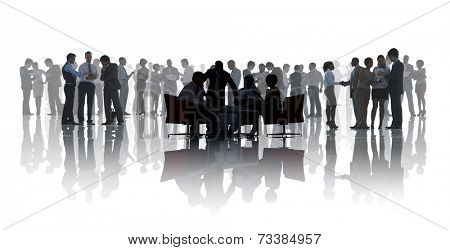 Group of business people discussing in a white background