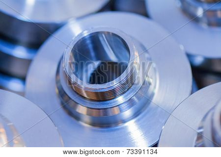 Industrial background from circle metalic parts after machining poster