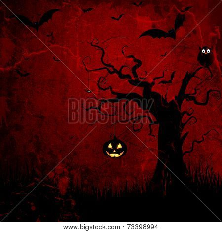 Grunge style Halloween background with spooky tree and jack o lantern