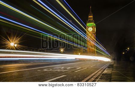 Light trails near Big Ben Tower, London