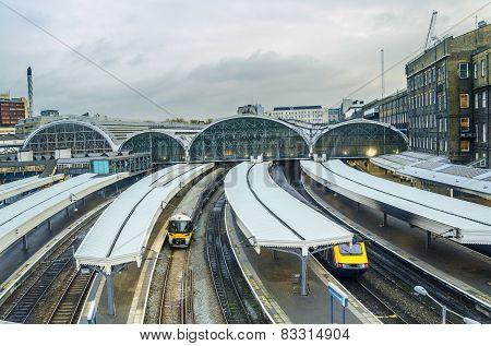 Trains arriving in Paddington Station, London, UK