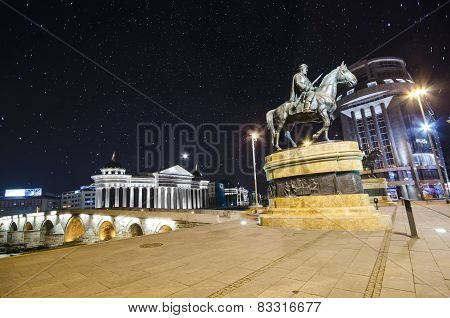 Monument and Archeological Museum of Macedonia under star sky