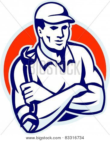 Illustration of a mechanic with arms crossed holding spanner wrench done in retro style. poster