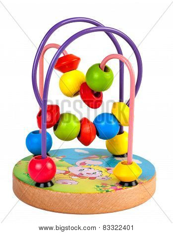 Children's developing toy. The labyrinth of wooden beads.