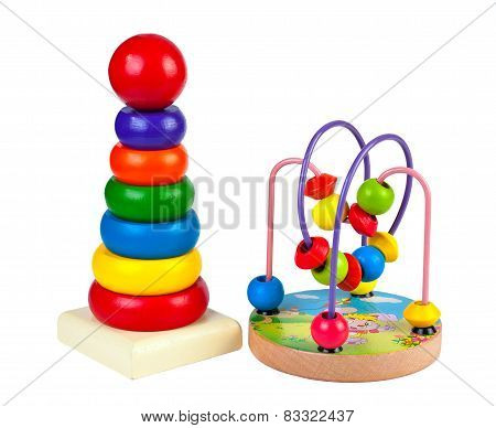 Children's wooden toys and pyramid maze