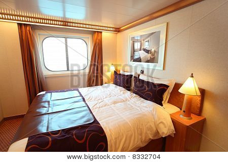 Ship Cabin With Big Double Bed And Window Summer Day