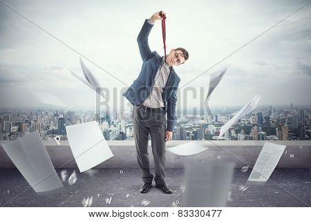 Young office worker on roof is tired to death of papers and ready hang a tie