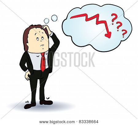 businessman cartoon character. Thinking about arrow down