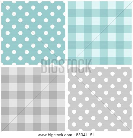 Tile vector blue and grey pattern set with polka dots and checkered plaid