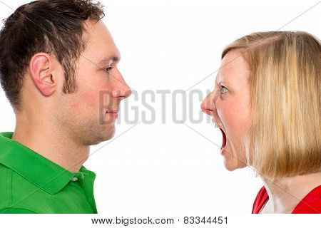 young woman scream at her husband